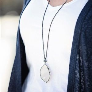 Lucky Brand Pave Agate Necklace